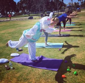 yoga bay bunny superman pose